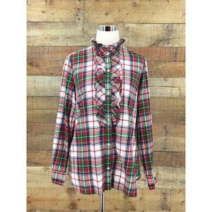 Vineyard Vines Ruffle Front Button Up Womens Shirt